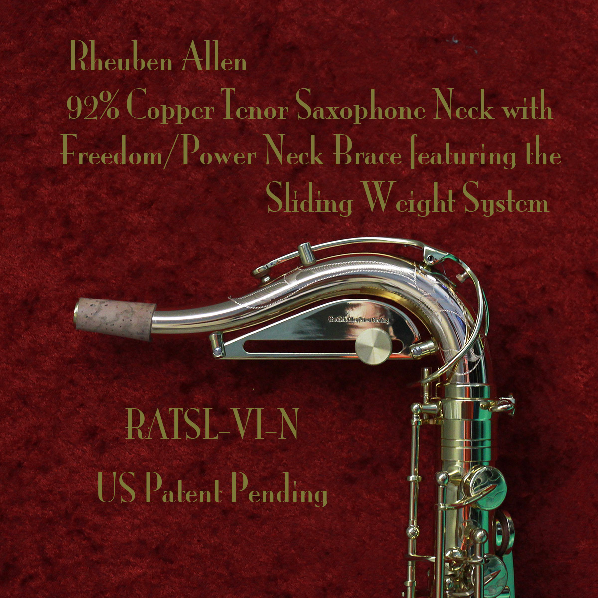 Rheuben Allen 92% Copper Tenor Sax Neck wi Sliding Weight System